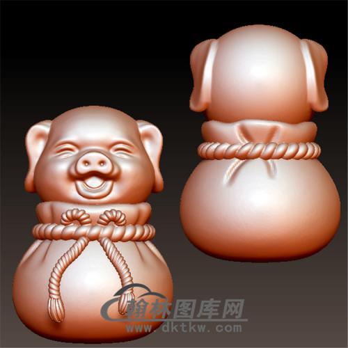 福袋猪立体圆雕图(YZ-051)