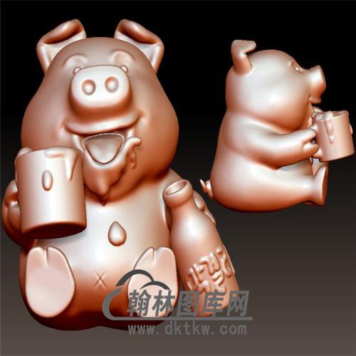 喝啤酒的猪立体圆雕图(YZ-053)