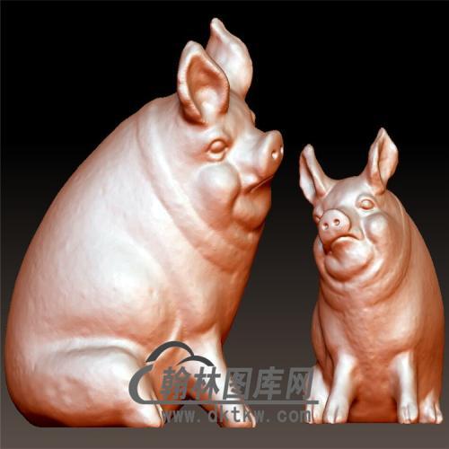 小猪立体圆雕图(YZ-055)