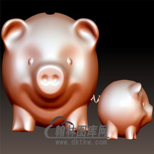 小猪储蓄罐立体圆雕图(YZ-057)