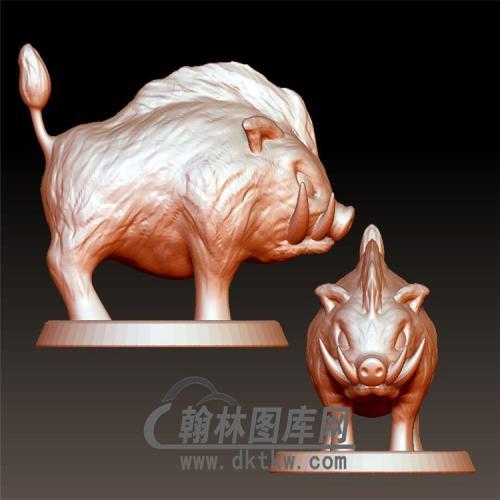 野猪摆件立体圆雕图(YZ-058)