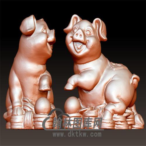 招财猪立体圆雕图(YZ-060)