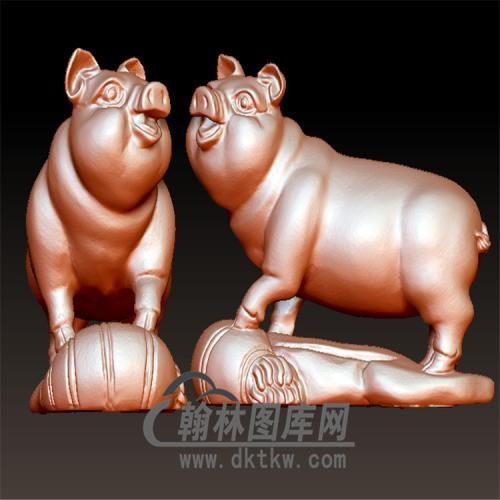 猪立体圆雕图(YZ-061)