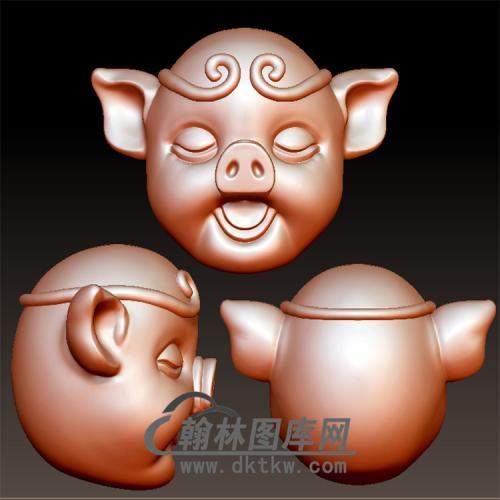 猪头立体圆雕图(YZ-063)