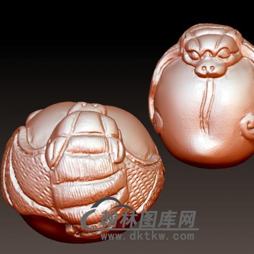 福寿蝙蝠 保健球 福寿立体圆雕图(YBF-011)