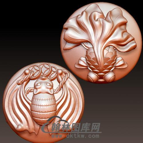 富贵有余蝙蝠立体圆雕图(YBF-012)
