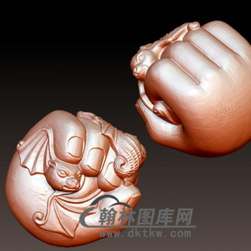 蝙蝠 福在手中立体圆雕图(YBF-003)