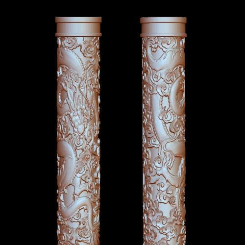 盘龙柱立体圆雕图(YLF-004)