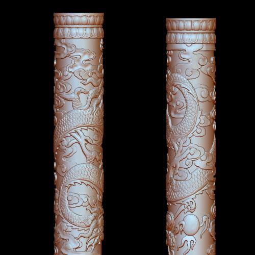 盘龙柱立体圆雕图(YLF-006)