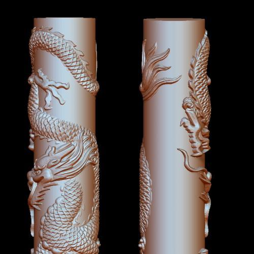 盘龙柱立体圆雕图(YLF-007)