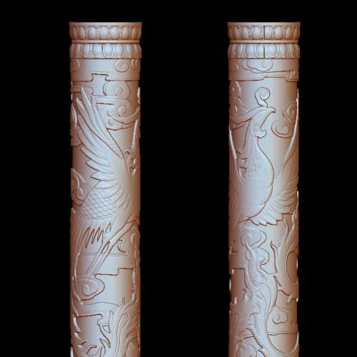 盘龙柱立体圆雕图(YLF-008)