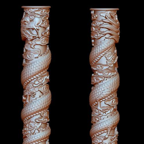 盘龙柱立体圆雕图(YLF-009)
