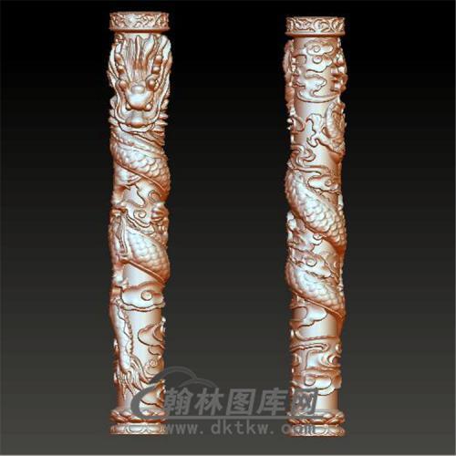 盘龙柱立体圆雕图(YLF-012)