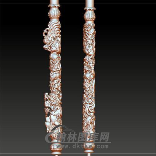 盘龙柱立体圆雕图(YLF-013)