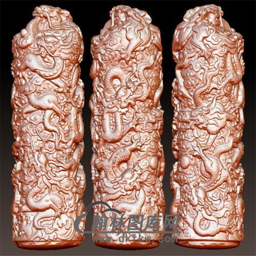 龙柱立体圆雕图(YLF-017)