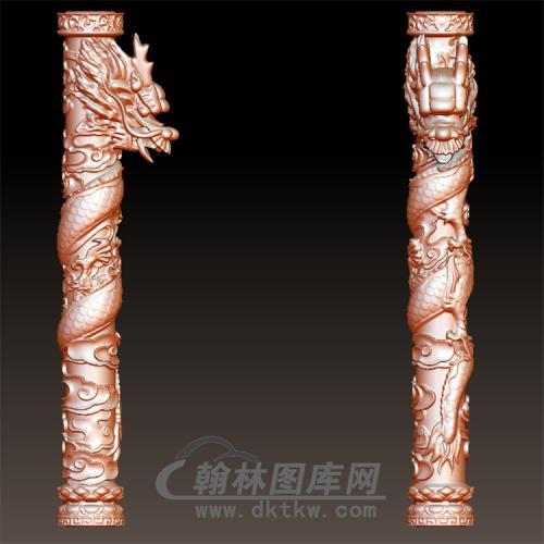 盘龙柱-右立体圆雕图(YLF-024)