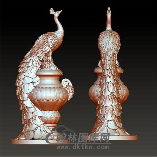 花瓶孔雀立体圆雕图(YDW-060)