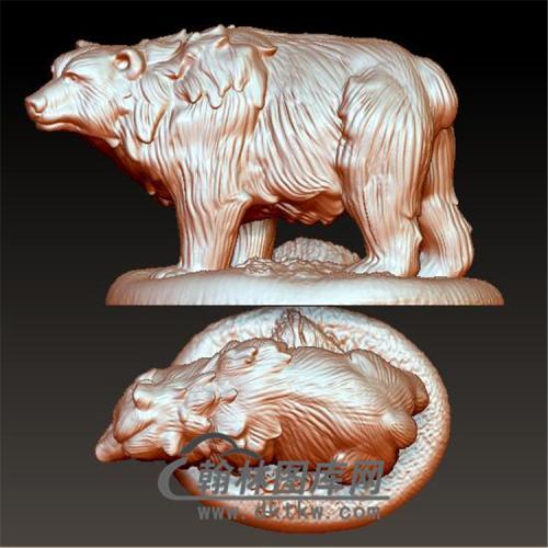 狗熊立体圆雕图(YDW-065)