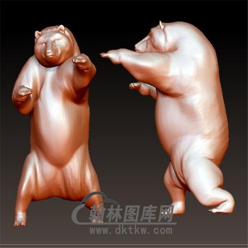 站立的熊立体圆雕图(YDW-066)