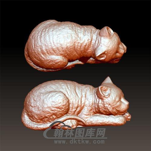 猫趴着立体圆雕图(YDW-088)