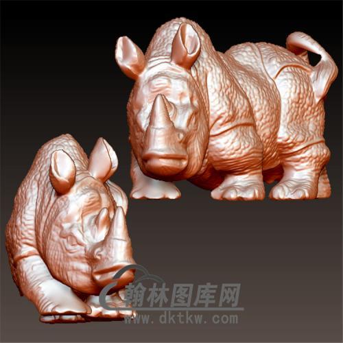 犀牛立体圆雕图(YDW-093)