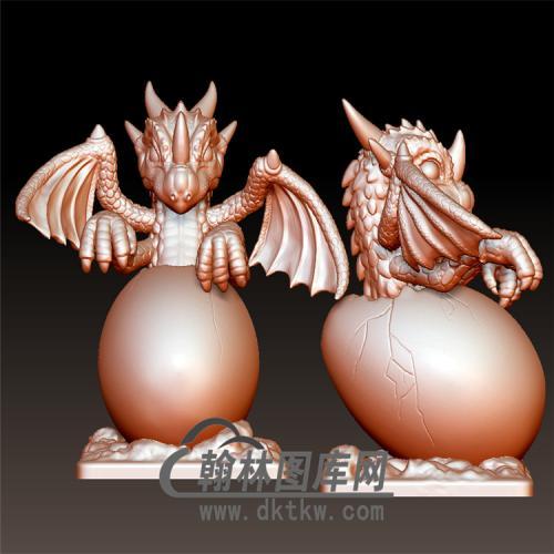 小龍破蛋立体圆雕图(YDW-095)