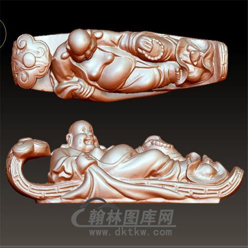 躺如意弥勒立体圆雕图(YRY-003)