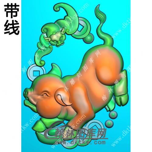 福猪46牌挂件带线精雕图(GZ-028)