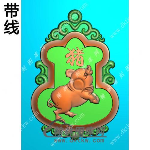 葫芦形猪挂件带线精雕图(GZ-014)