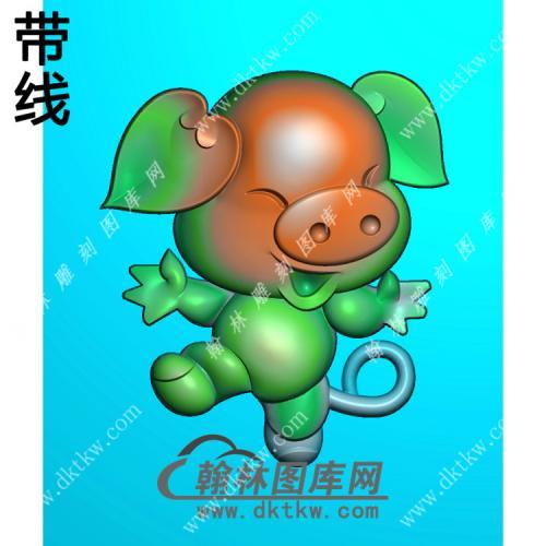 卡通生肖猪挂件带线精雕图(GZ-034)