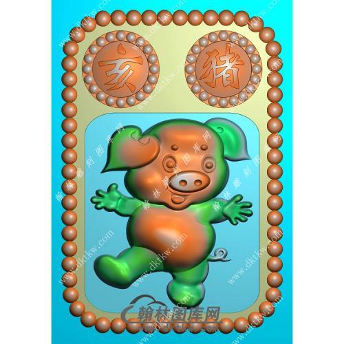 卡通猪挂件精雕图(GZ-020)
