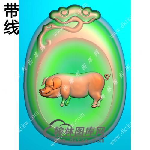 灵芝牌头猪挂件带线精雕图(GZ-012)