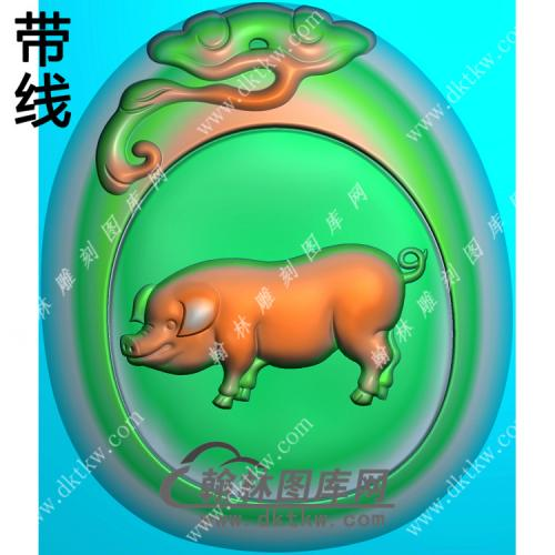 灵芝牌头猪挂件带线精雕图(GZ-017)