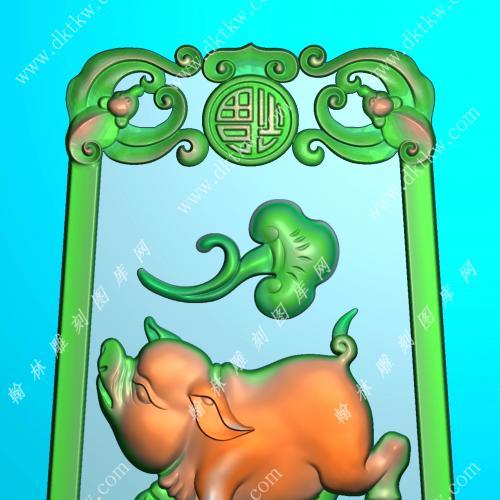 如意福猪挂件精雕图(GZ-045)