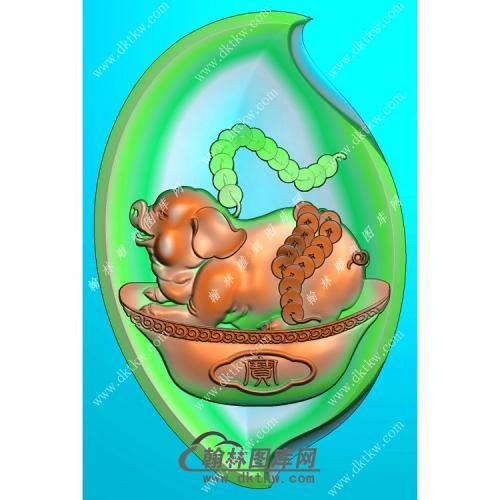 树叶形猪挂件精雕图(GZ-006)