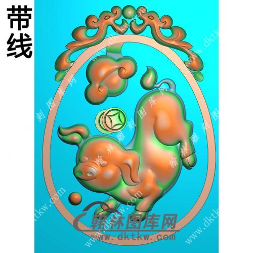双龙牌头如意猪挂件带线精雕图(GZ-049)
