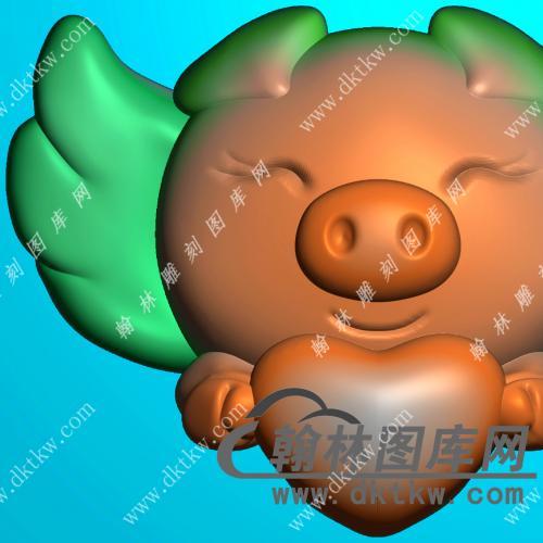 双面飞猪挂件精雕图(GZ-041)