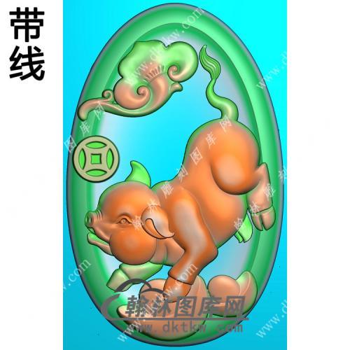 椭圆凹底元宝猪挂件带线精雕图(GZ-022)