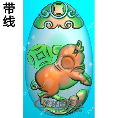 椭圆猪挂件带线精雕图(GZ-003)