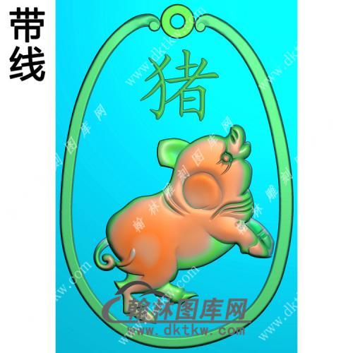 椭圆猪挂件带线精雕图(GZ-004)