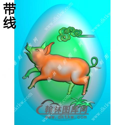 椭圆猪挂件带线精雕图(GZ-007)
