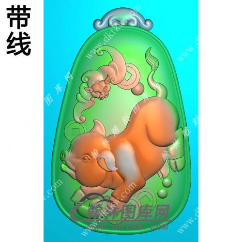 椭圆蝙蝠猪福猪挂件带线精雕图(GZ-033)