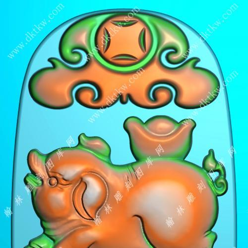 玉雕如意元宝猪挂件精雕图(GZ-047)