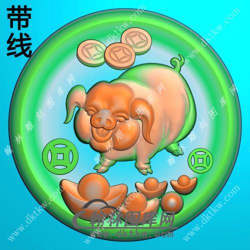 玉雕圆形凹底铜钱元宝猪挂件带线精雕图(GZ-057)