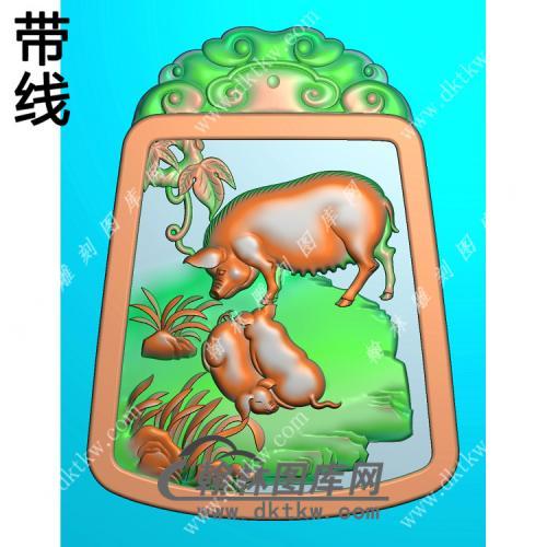 玉雕猪挂件带线精雕图(GZ-048)