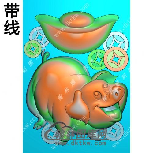 元宝铜钱财猪46牌挂件带线精雕图(GZ-054)