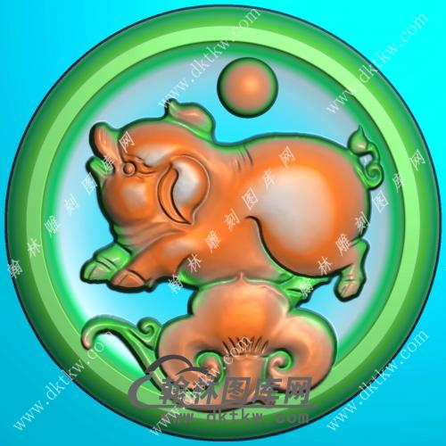 圆形凹底生肖猪挂件精雕图(GZ-035)