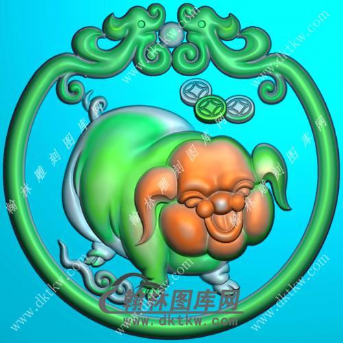 圆形生肖猪挂件精雕图(GZ-031)