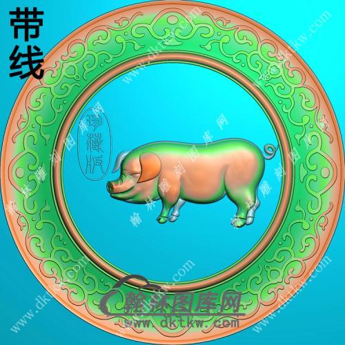 圆形猪挂件带线精雕图(GZ-005)