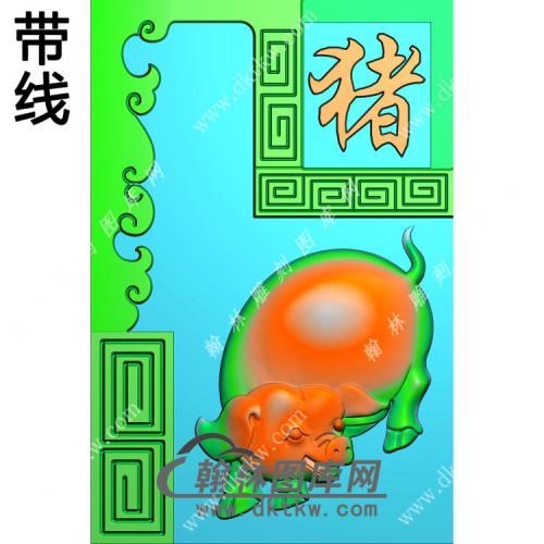 猪46牌挂件带线精雕图(GZ-008)